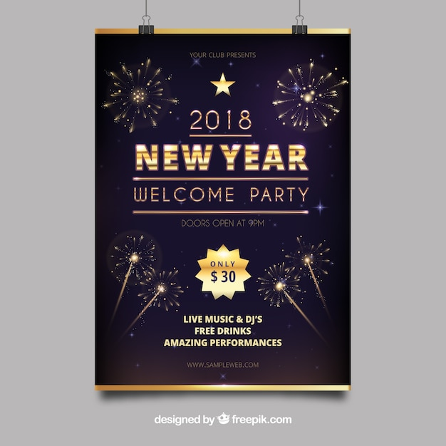 Party new year poster  Free Vector