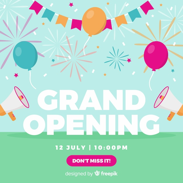Party opening soon background flat design Free Vector