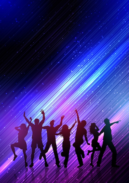 Party people dancing on abstract background Free Vector