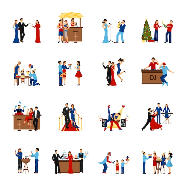 Party people icons set Free Vector