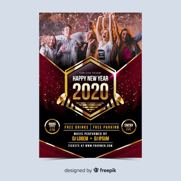Party people new year 2020 poster Free Vector