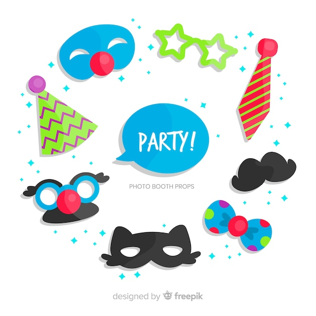 Party photo booth prop collection Free Vector
