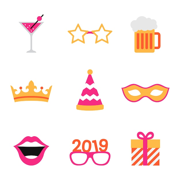 Party photo booth props vector Free Vector