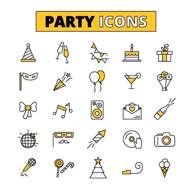 Party pictograms oitlined icons set Premium Vector