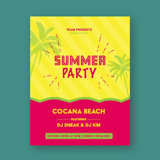 Party poster design Free Vector