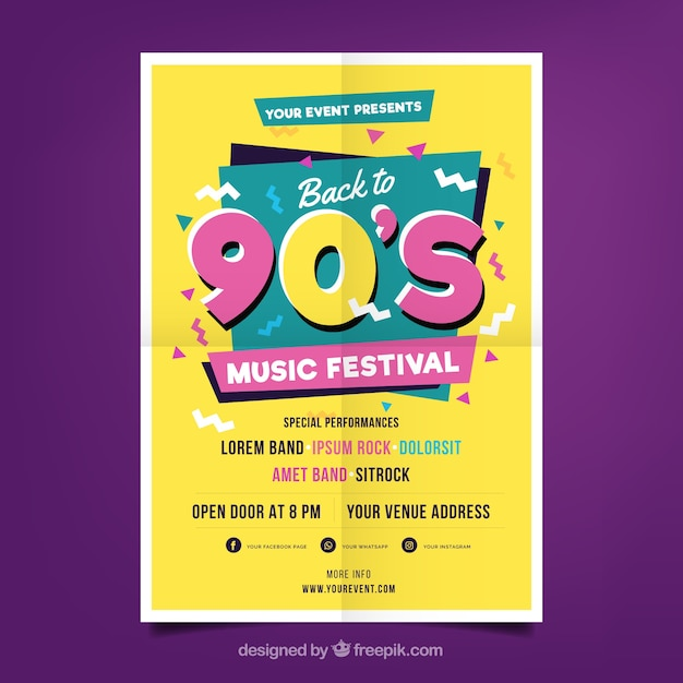 Party poster in memphis style Free Vector