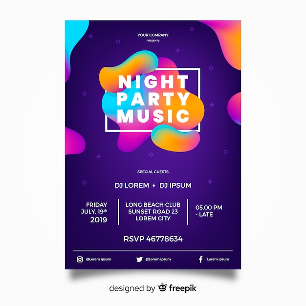 Party poster template with abstract shapes Free Vector
