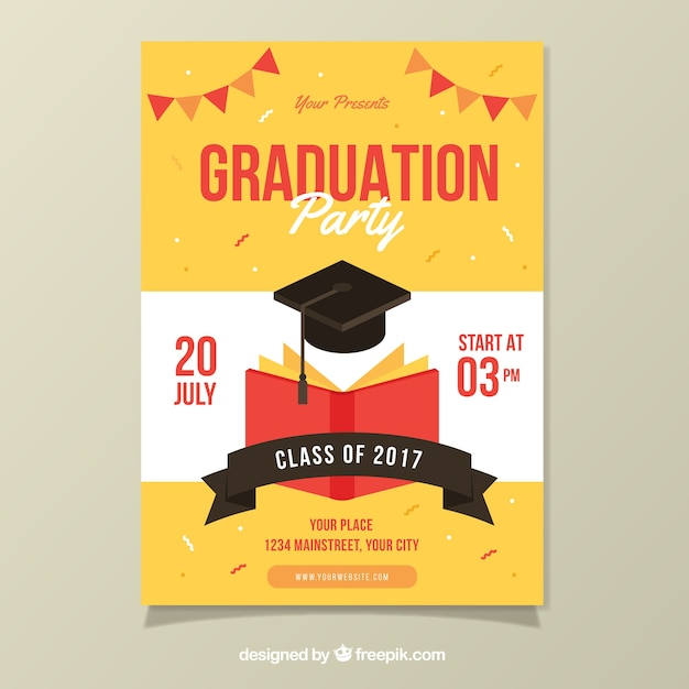 Party Poster Template With Book And Graduation Cap Vector