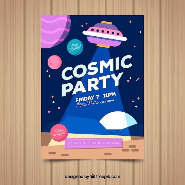 Party poster template with cosmic style Free Vector
