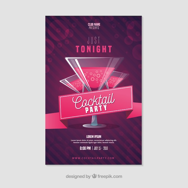 Party poster template with elegant cocktails Free Vector