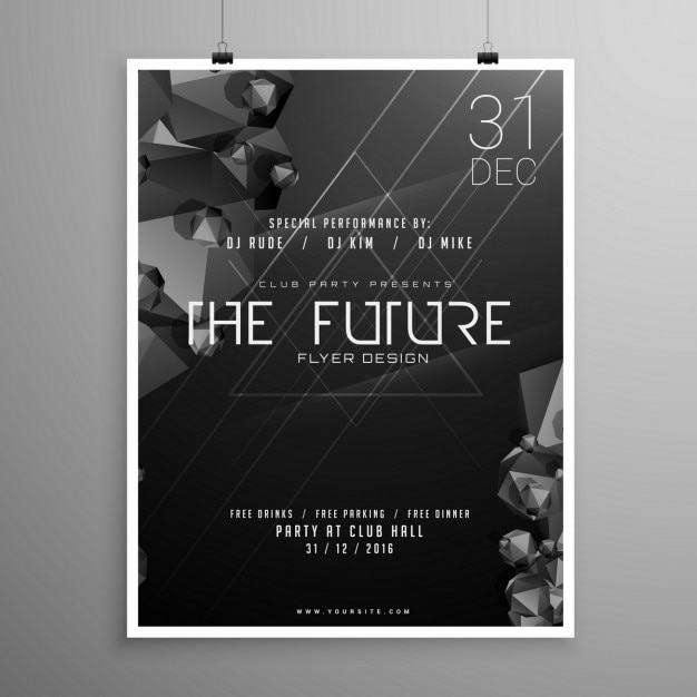 Party poster with a black geometric background Free Vector