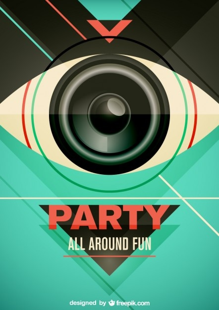 Party poster with a lens looking like an eye Vector | Free Download
