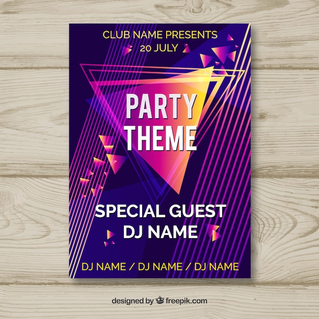 Party poster with abstract style Free Vector