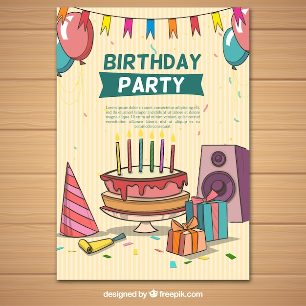 Party poster with birthday elements Free Vector