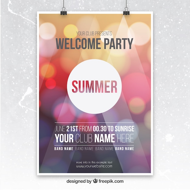 Party poster with bokeh background Vector Free Download