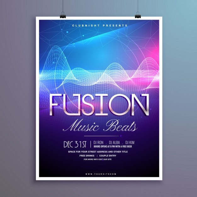 Party poster with bright wavy lines Free Vector