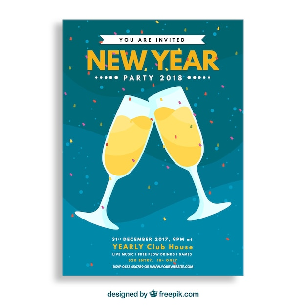 Party poster with champagne glasses