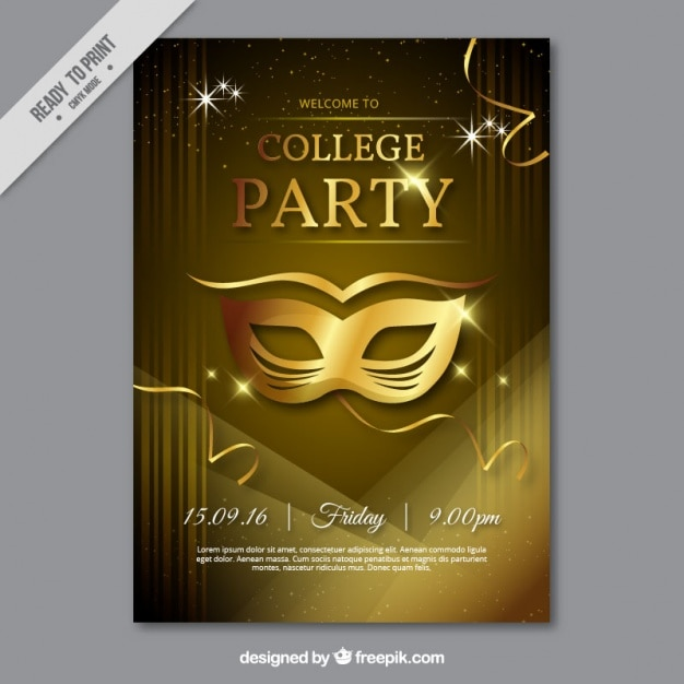 Party poster with golden mask vector free download for Classic house music downloads
