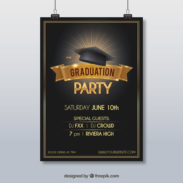 Party Poster With Graduation Cap Vector