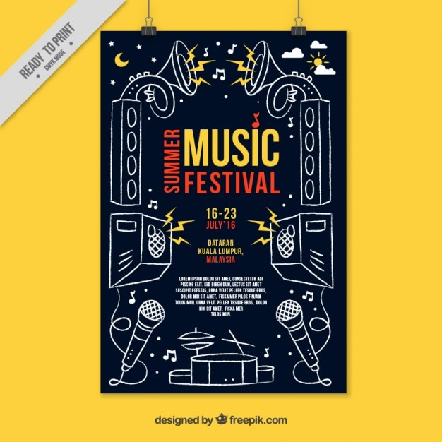 Party poster with hand drawn musical elements Free Vector