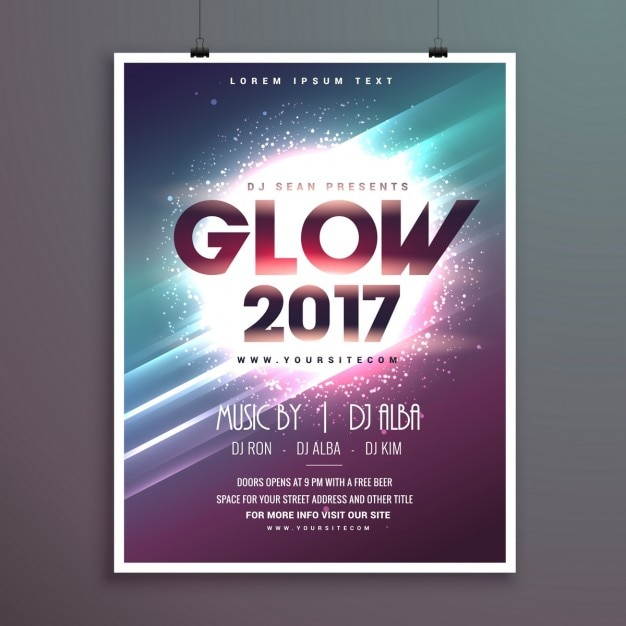 Party Poster With Lights And Lines Vector Free Download