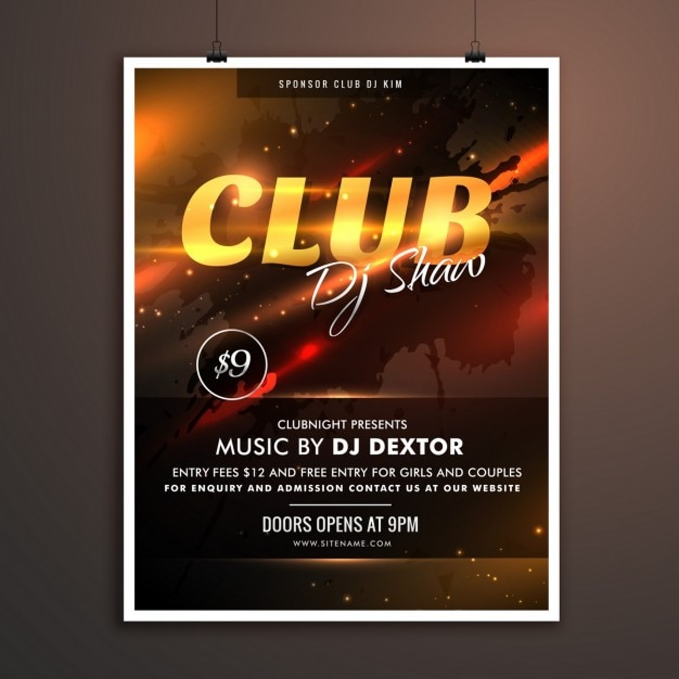 Party poster with lights club Free Vector