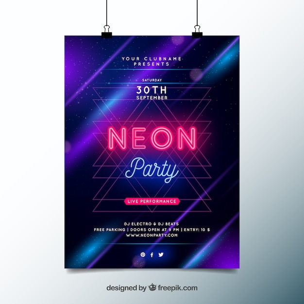 Party poster with neon lights Free Vector