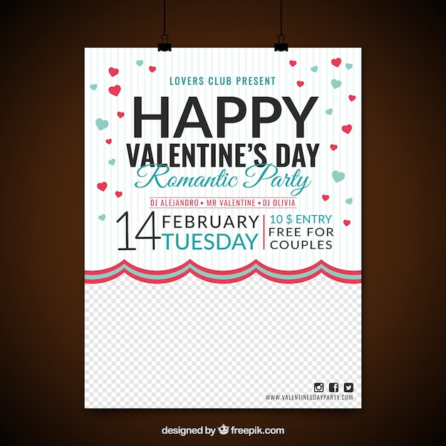 Party poster with red and blue hearts for valentine's day Free Vector