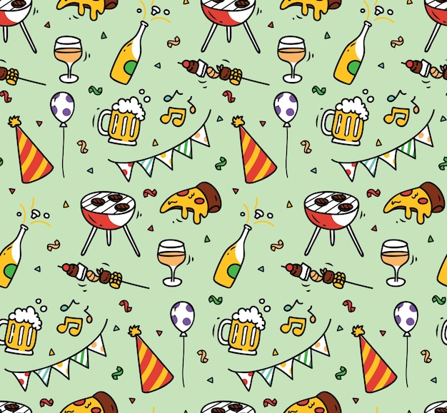 Party seamless background Premium Vector