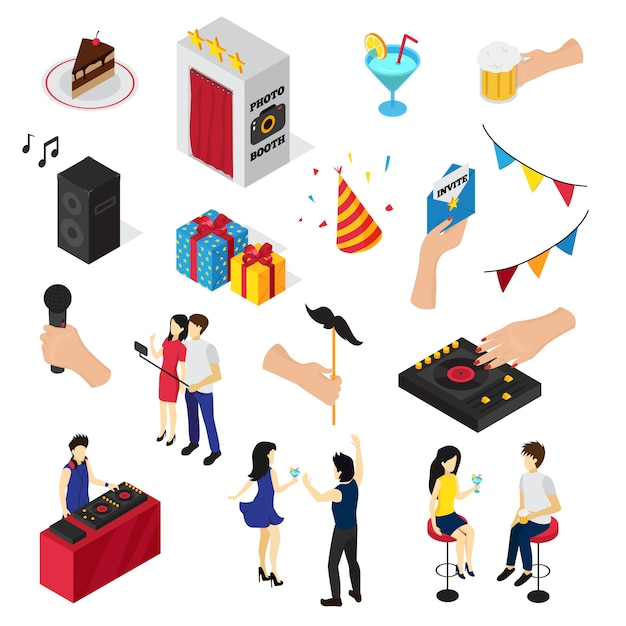 Party set of icons people characters decorations drinks sweets invitation card and audio equipment Free Vector