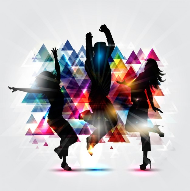 Party silhoettes background with triangles Free Vector