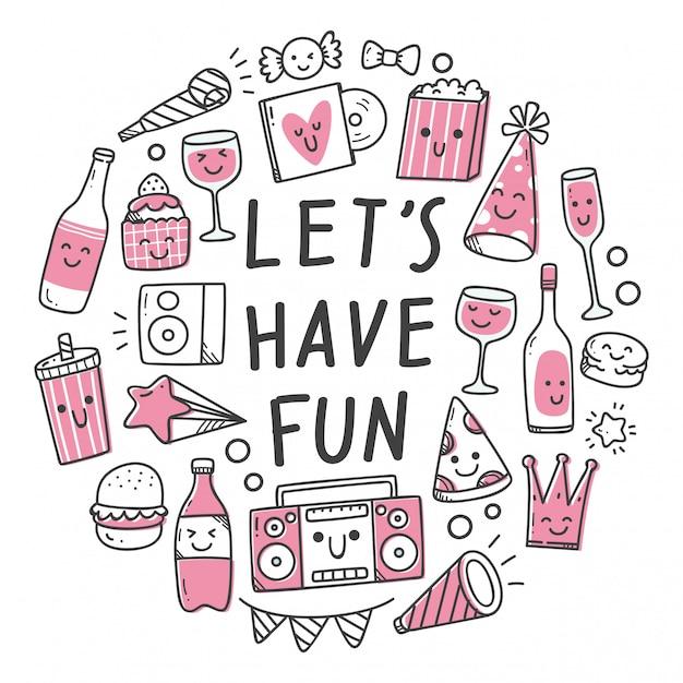 Party stuff in kawaii doodle style illustrationn Premium Vector