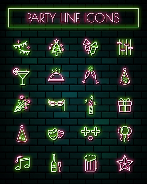 Party  thin neon glowing line icons set Premium Vector