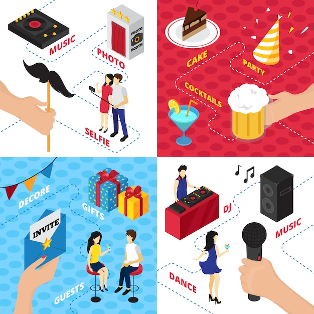 Party with decorations gift boxes character clothes alcohol drinks audio gear and people Free Vector