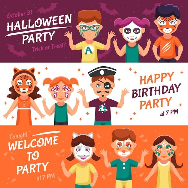 Вечеринка с набором баннеров greasepaint Бесплатные векторы