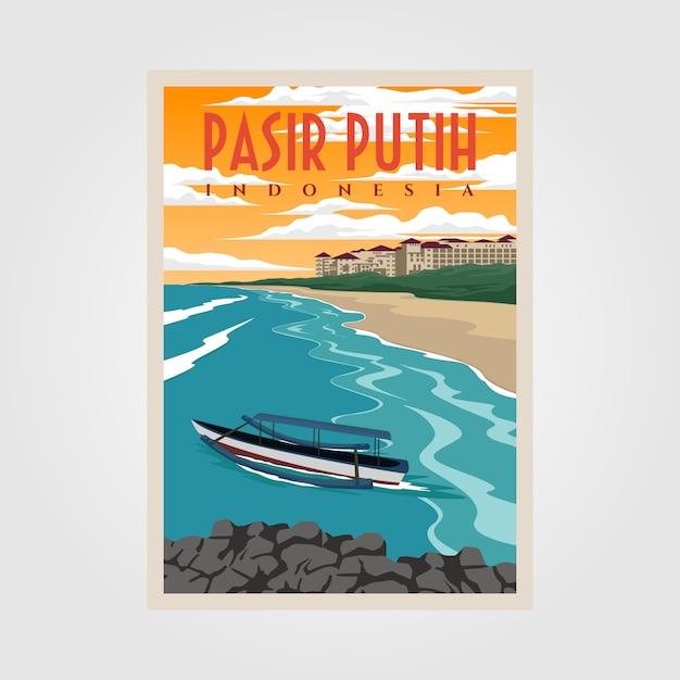 Pasir putih anyerビーチビンテージポスターイラストデザイン、インドネシアのビーチポスターデザイン Premiumベクター