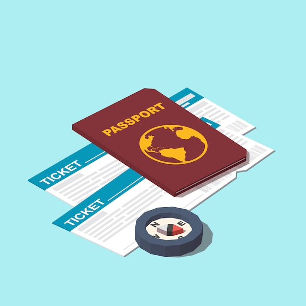 Pasport, tickets and compass icon Premium Vector