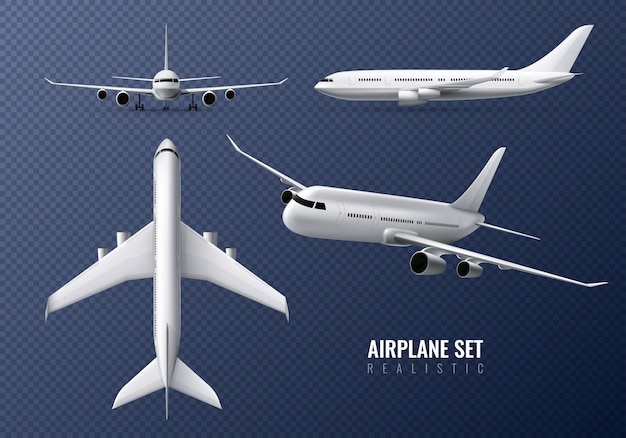 고립 된 다른 관점에서 여객기와 투명에 여객 비행기 현실적인 세트 무료 벡터