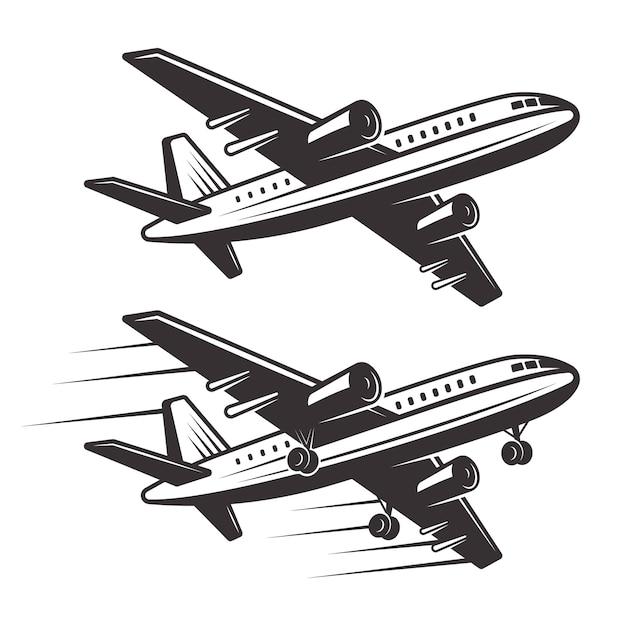 旅客機の白い背景の上の2つの要素のモノクロイラスト Premiumベクター