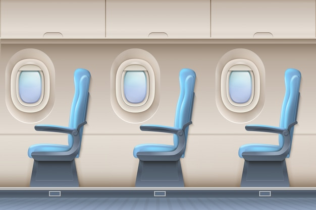 Passenger airplane vector interior. aircraft indoor with comfortable chairs and portholes Premium Vector