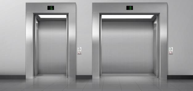 廊下にドアが開いている乗客および貨物用エレベーター。 無料ベクター