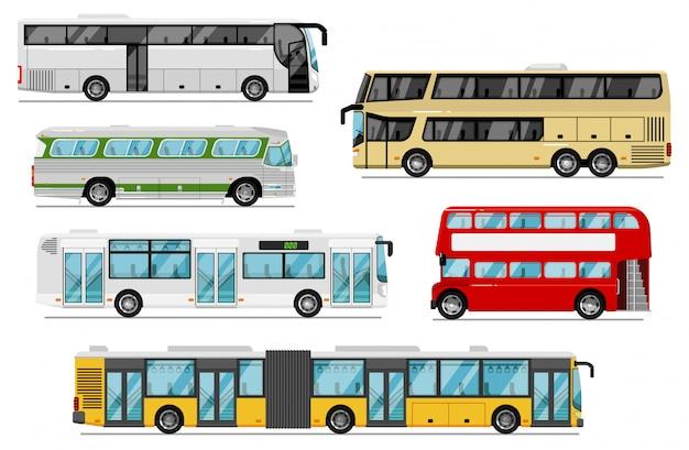 여객 버스 세트. 고립 된 공공 도시, 코치, 투어, 이층 버스 전송 아이콘. 트렁크 룸과 벨로우즈가있는 버스 차량. 도시 여객 운송 및 여행 프리미엄 벡터