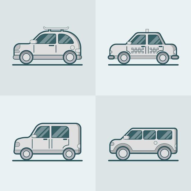 乗用車バンsuvタクシー道路線画 無料ベクター