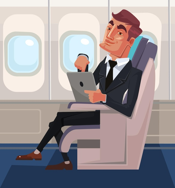 Passenger man character sitting in chair and relax in business class using tablet