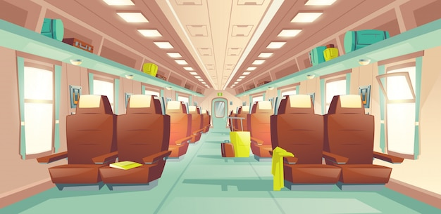 Passenger train wagon interior cartoon vector Free Vector