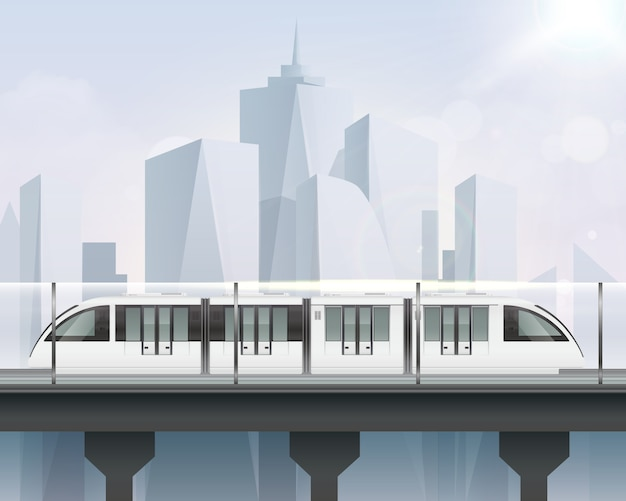 Passenger tram train realistic composition with view of cityscape and light railway with modern metropolitan train illustration Free Vector