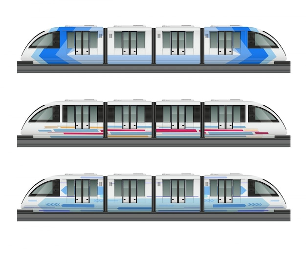 Passenger tram train realistic mockup with side view of three metropolitan trains with various coloring livery illustration Free Vector