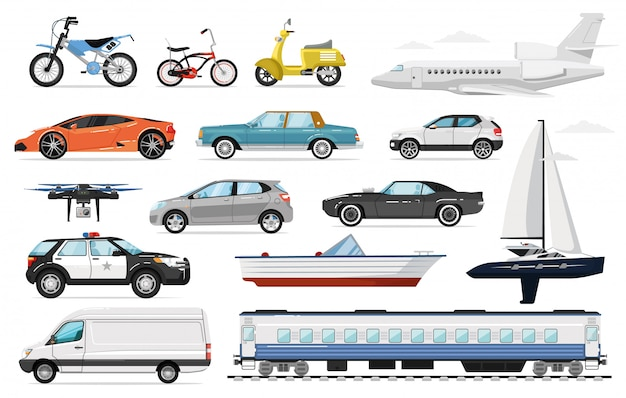 Passenger transport. public and private passenger vehicles side view. isolated police car, train, airplane, automobile, van, bicycle, sailing yacht, motorcycle auto transport icon set. Premium Vector