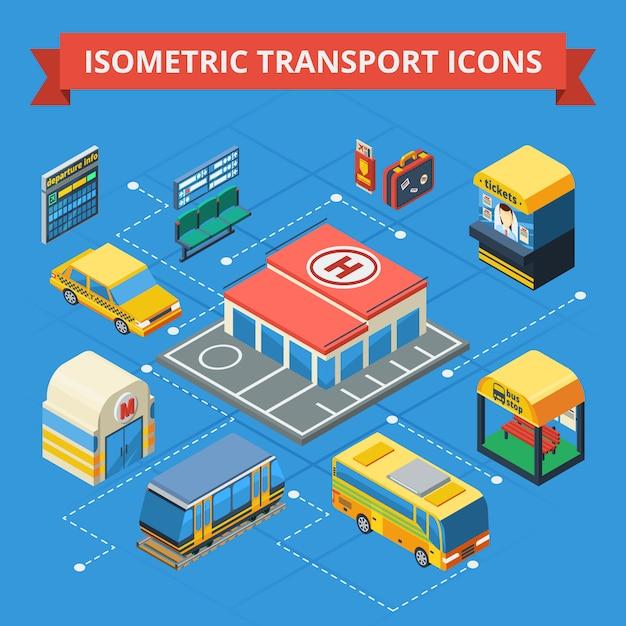 Passenger transportation isometric flowchart Free Vector