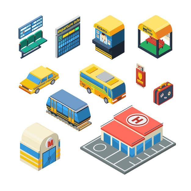 Passenger transportation isometric icons Free Vector